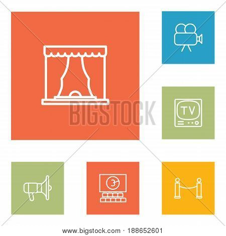 Set Of 6 Amusement Outline Icons Set.Collection Of Tv Set, Bullhorn, Cinema And Other Elements.
