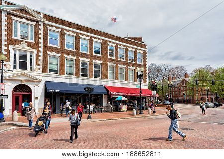 People At Tory Row On Brattle Street At Cambridge Ma