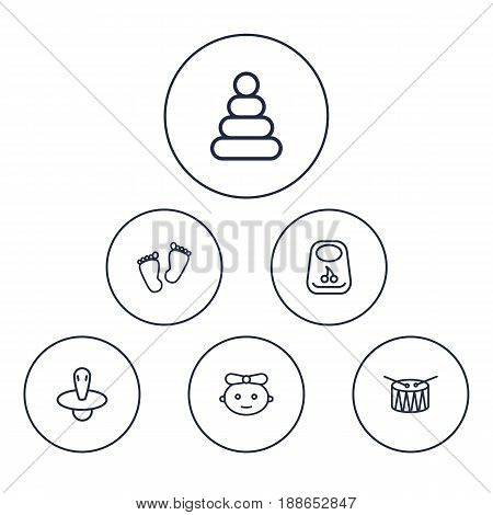 Set Of 6 Kid Outline Icons Set.Collection Of Pyramid, Baby, Drum And Other Elements.