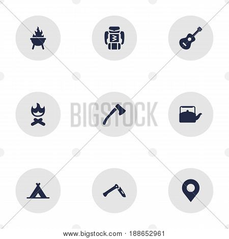 Set Of 9 Picnic Icons Set.Collection Of Backpack, Location, Jackknife And Other Elements.