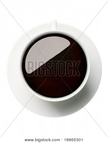 Classic coffee cup filled with black coffee top view on white