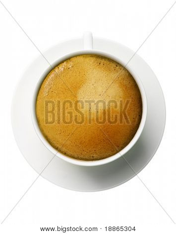 Classic espresso cup filled top view on white
