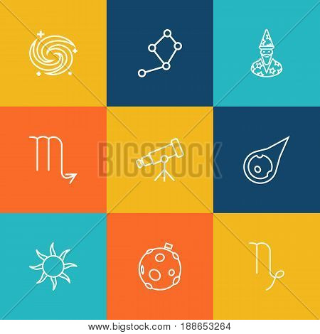 Set Of 9 Astronomy Outline Icons Set.Collection Of Constellation, Moon, Scorpion And Other Elements.