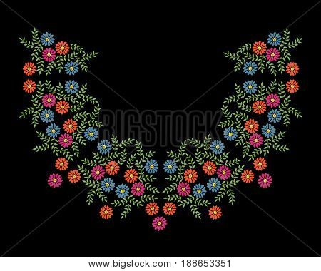 Colorful embroidery stitches imitation neck line frame with folk flower. Floral wreath on black background. Embroidery illustration.