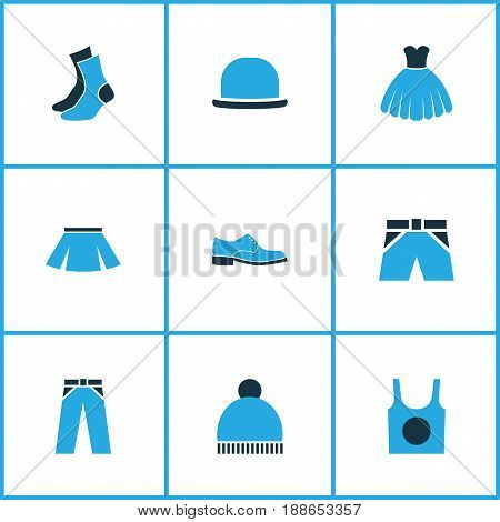 Clothes Colorful Icons Set. Collection Of Socks, Underwear, Evening Gown And Other Elements. Also Includes Symbols Such As Panties, Pants, Half-Hose.