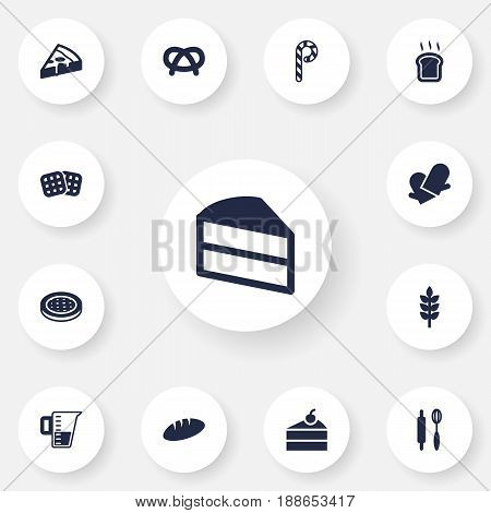 Set Of 13 Bakery Icons Set.Collection Of Striped Lollipop, Loaf, Potholders And Other Elements.