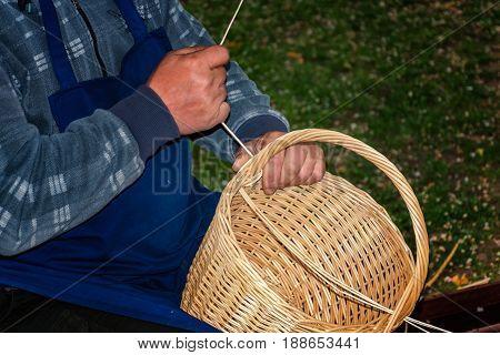Basket-maker Creates A New Basket - Folk Art