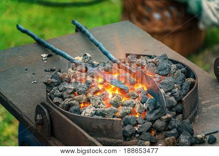 Blacksmith, Smithy And Blacksmith Tools  - Folk Art