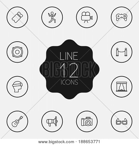 Set Of 12 Amusement Outline Icons Set.Collection Of Movie Cam, 3D Glasses, Ticket And Other Elements.