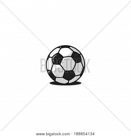 Football ball logo traditional design black and white truncated icosahedron pattern isolated on white background. 32-panel Soccer ball icon.