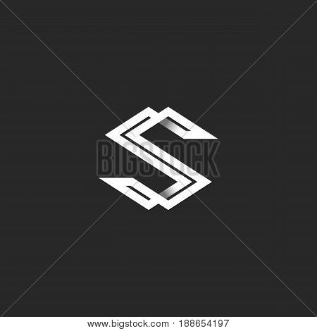 Capital Letter S Logo Monogram. Intersection White Angular Lines Overlapping Strips Shape Ss Initial