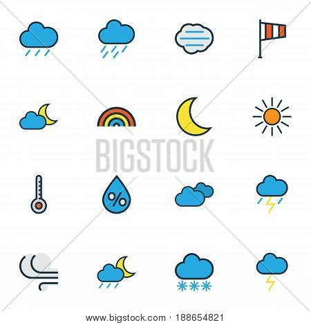 Climate Colorful Outline Icons Set. Collection Of Moonbeam, Lunar, Cloudburst And Other Elements. Also Includes Symbols Such As Moon, Hail, Freeze.