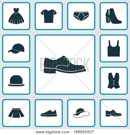 Dress Icons Set. Collection Of Female Winter Shoes, Elegant Headgear, Sarafan And Other Elements. Also Includes Symbols Such As Woman, Sundress, Sleeveless.