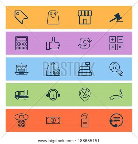 Ecommerce Icons Set. Collection Of Outgoing Earnings, Rich, Gavel And Other Elements. Also Includes Symbols Such As Calculator, Gavel, Dollar.