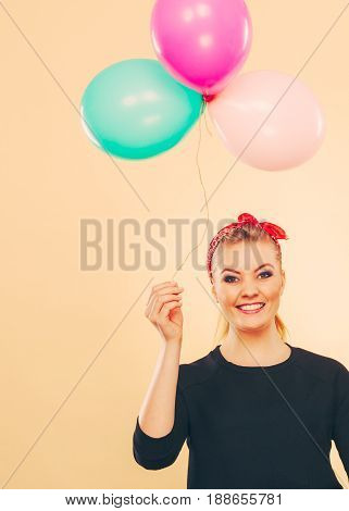 Happy Smiling Woman With Balloons.