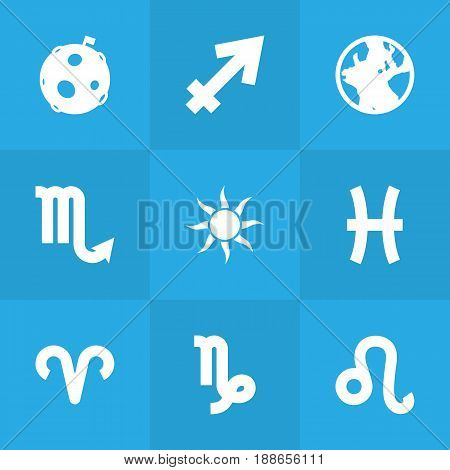 Set Of 9 Horoscope Icons Set.Collection Of Ram, Fishes, Goat And Other Elements.