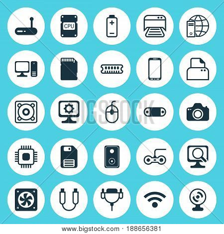 Hardware Icons Set. Collection Of Wireless, Music, Computer Ventilation And Other Elements. Also Includes Symbols Such As Vga, Energy, Dskette.