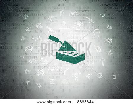 Building construction concept: Painted green Brick Wall icon on Digital Data Paper background with  Hand Drawn Construction Icons