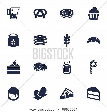 Set Of 16 Bakery Icons Set.Collection Of Snack, Sack, Cake And Other Elements.