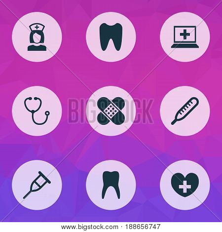 Antibiotic Icons Set. Collection Of Claw, Stand, Mercury Elements. Also Includes Symbols Such As Claw, Healthy, Heart.