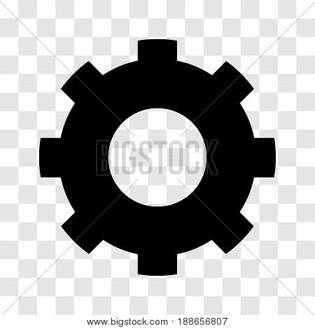 Gear icon, iconic symbol on transparency grid.  Vector Iconic Design.