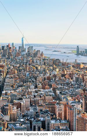 Aerial View On Skyline In Downtown And Lower Manhattan Ny