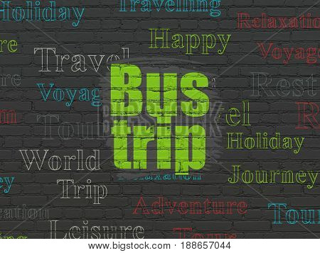 Travel concept: Painted green text Bus Trip on Black Brick wall background with  Tag Cloud