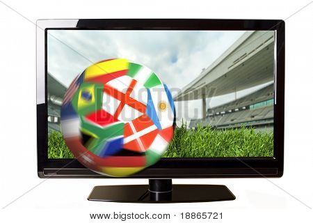 Ball with flags coming out of the TV screen