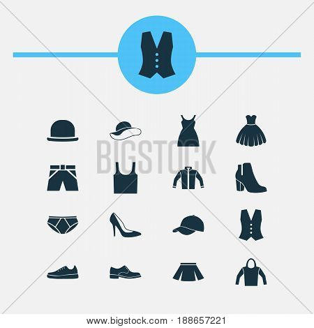 Dress Icons Set. Collection Of Stylish Apparel, Waistcoat, Briefs And Other Elements. Also Includes Symbols Such As Cardigan, Shoe, Dress.