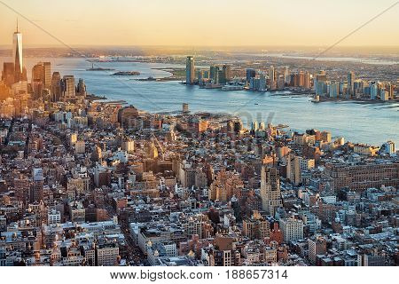 Aerial View Of Skyline In Downtown And Lower Manhattan Ny