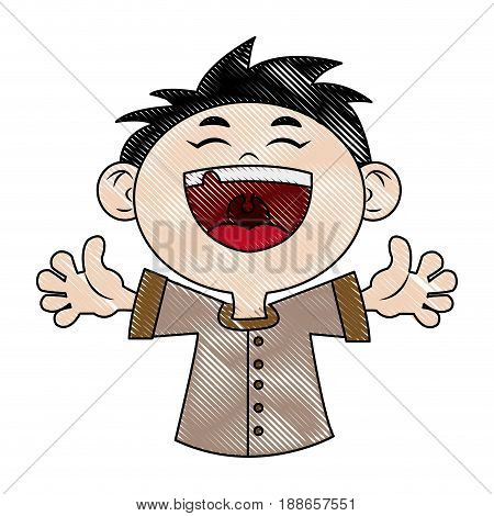 children, boy happy face celebration party vector illustartion