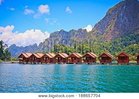 Floating houses in Cheow Lan Lake Khao Sok National Park Thailand