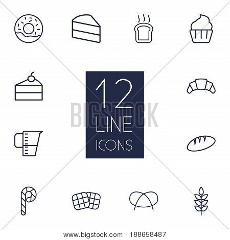 Set Of 12 Pastry Outline Icons Set.Collection Of Bread, Donuts, Candy Cane Elements.