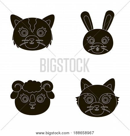 Cat, rabbit, fox, sheep. Animal's muzzle set collection icons in black style vector symbol stock illustration .