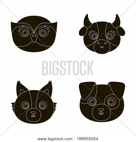 Owl, cow, wolf, dog. Animal's muzzle set collection icons in black style vector symbol stock illustration .
