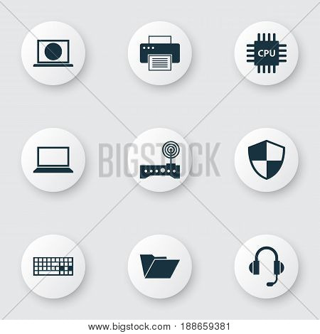 Computer Icons Set. Collection Of Dossier, Motherboard, Laptop And Other Elements. Also Includes Symbols Such As Keypad, Laptop, Shield.