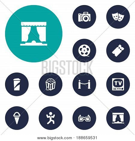 Set Of 12 Pleasure Icons Set.Collection Of Cinema Fence, Curtain, Television And Other Elements.
