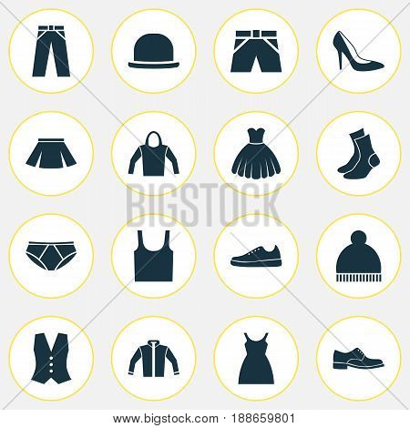 Dress Icons Set. Collection Of Beanie, Cardigan, Briefs And Other Elements. Also Includes Symbols Such As Footwear, Dress, Vest.