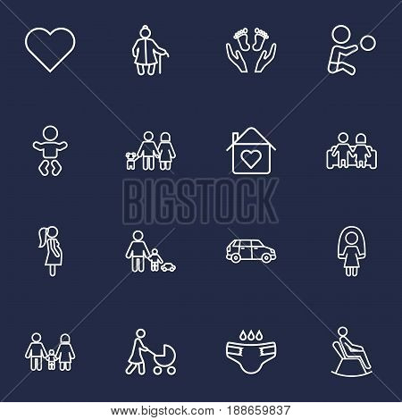Set Of 16 Relatives Outline Icons Set.Collection Of Boy, Lovers, Care And Other Elements.
