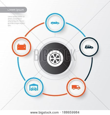Automobile Icons Set. Collection Of Wheel, Convertible Model, Repairing And Other Elements. Also Includes Symbols Such As Van, Car, Automobile.