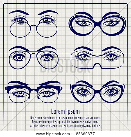 Woman eyes with glasses vector illustration. Ballpoint pen poster with female eyes