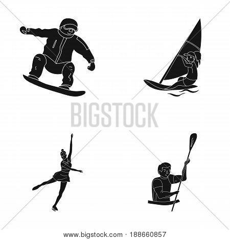 Snowboarding, sailing surfing, figure skating, kayaking. Olympic sports set collection icons in black style vector symbol stock illustration .