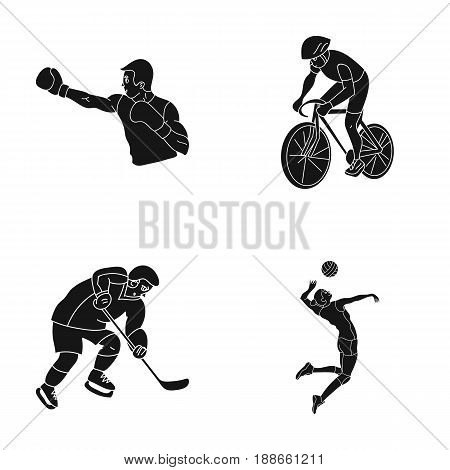 Cycling, boxing, ice hockey, volleyball.Olympic sport set collection icons in black style vector symbol stock illustration .