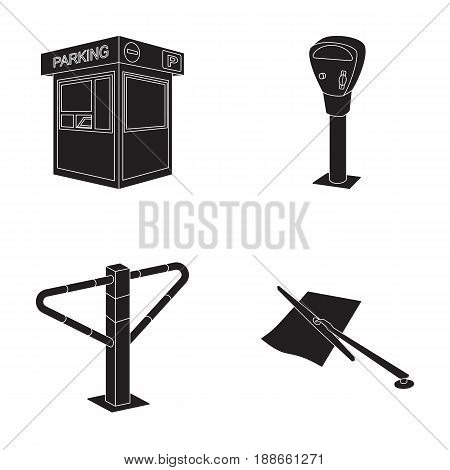 A parking lot, a parking meter, a check for services, a barrier. Parking zone set collection icons in black style vector symbol stock illustration .