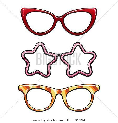 Colorful eyeglass frames isolated on white background. Vector illustration