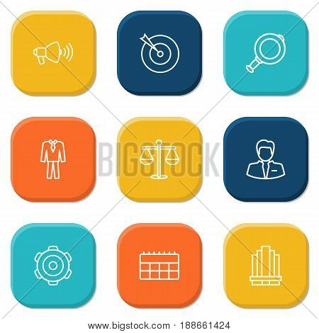 Set Of 9 Trade Outline Icons Set.Collection Of Magnifier, Business Center, Loudspeaker And Other Elements.