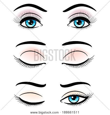 Open and closed blue female eyes isolated on white background. Vector illustration