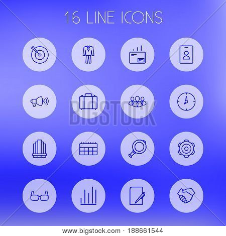 Set Of 16 Business Outline Icons Set.Collection Of Team, Suit, Loudspeaker And Other Elements.