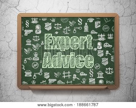 Law concept: Chalk Green text Expert Advice on School board background with  Hand Drawn Law Icons, 3D Rendering