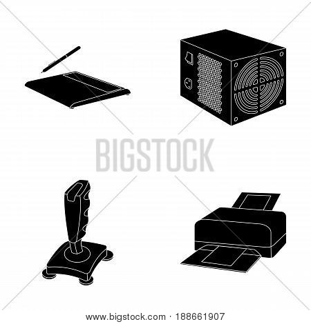 Power unit, dzhostik and other equipment. Personal computer set collection icons in black style vector symbol stock illustration .
